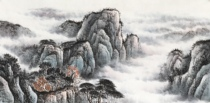 Meiqi Academy of painting four feet 1 4*07 meters landscape pure hand-painted Chinese painting calligraphy painting take the price of rice paper