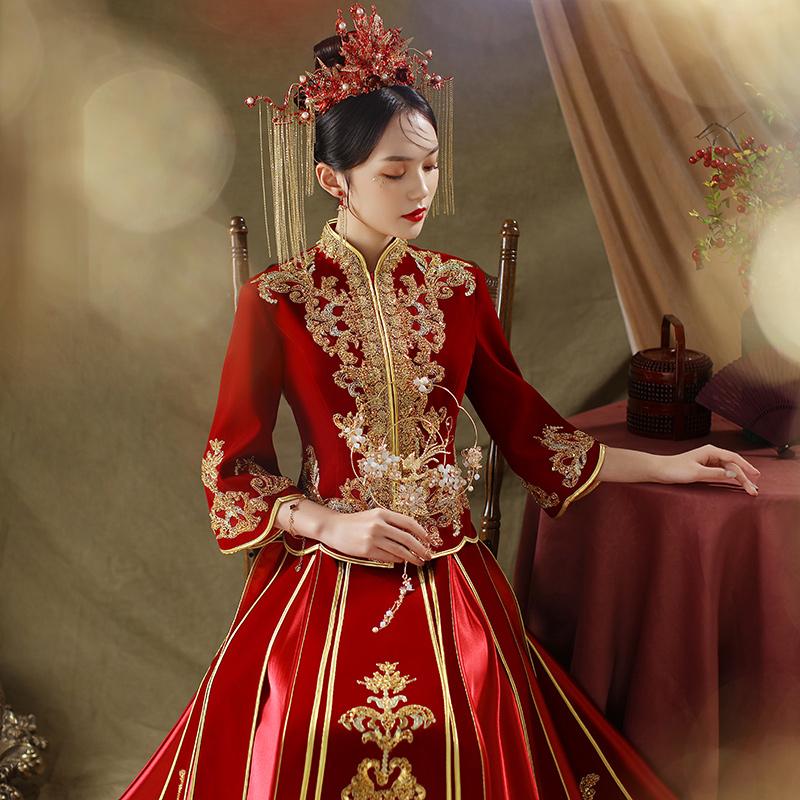 Velvet show wo clothing 2021 new spring and summer wedding bride dress female wedding dress Chinese wedding dress Chinese style show kimono