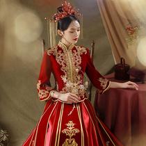 Velvet Xiuhe Clothing 2021 New Spring and Summer Wedding Bride Dress Female Wedding Chinese Wedding Clothes Chinese Style Show Kimono