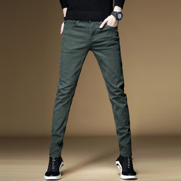 Mens army green jeans men 2021 new item pop brand loose straight spring summer stretch slim pants