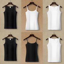 Camisole female cotton round neck white slim wild wear black bottoming shirt short paragraph take a large size shirt