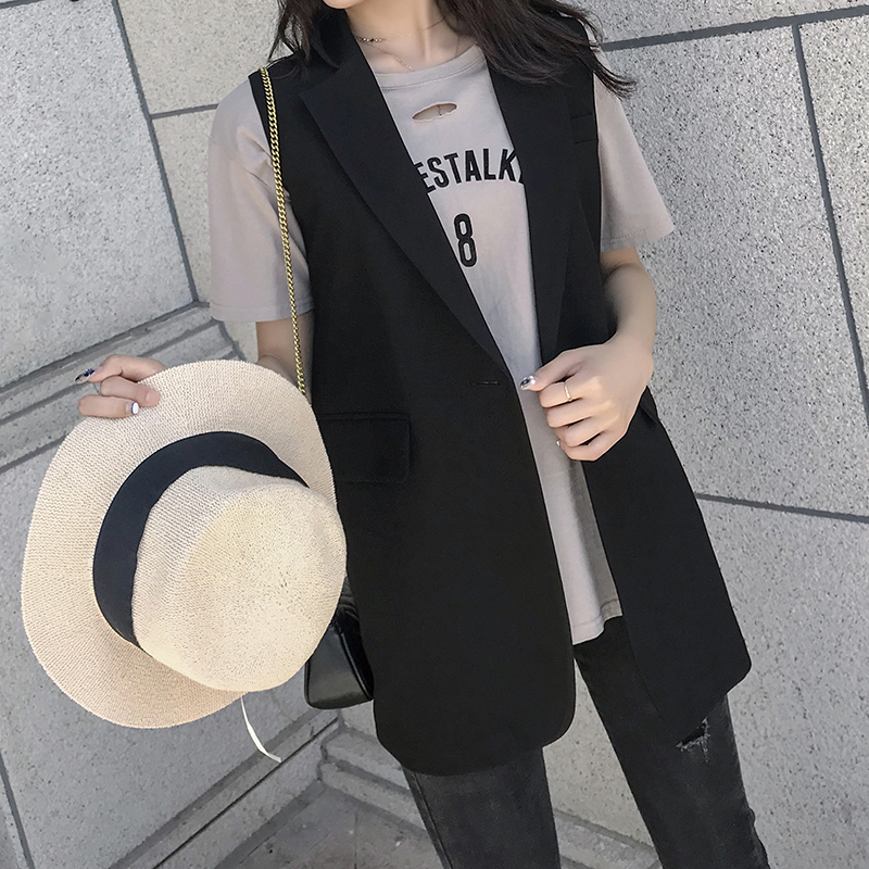 Suit waistcoat Womens coat Korean version of the long small sleeveless waistband large size horse clip net red vest outside the spring