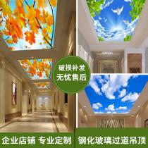 3d art glass ceiling Hall restaurant corridor aisle light tempered glass ceiling partition screen