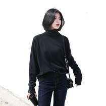 Chicven Homemade loose-fit maigre manches raglan col haut pile-collier tricot sweatshirt pull fille