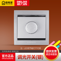 Delixi Type 86 Home dark silver tone optical switch socket a dimming panel switch dimming switch