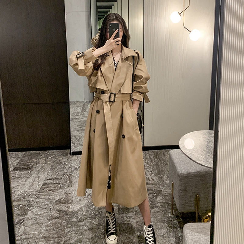 Windwear women autumn and winter new Korean version of the fashion trend temperament a hundred with a long-length version of the coat loose khaki work jacket