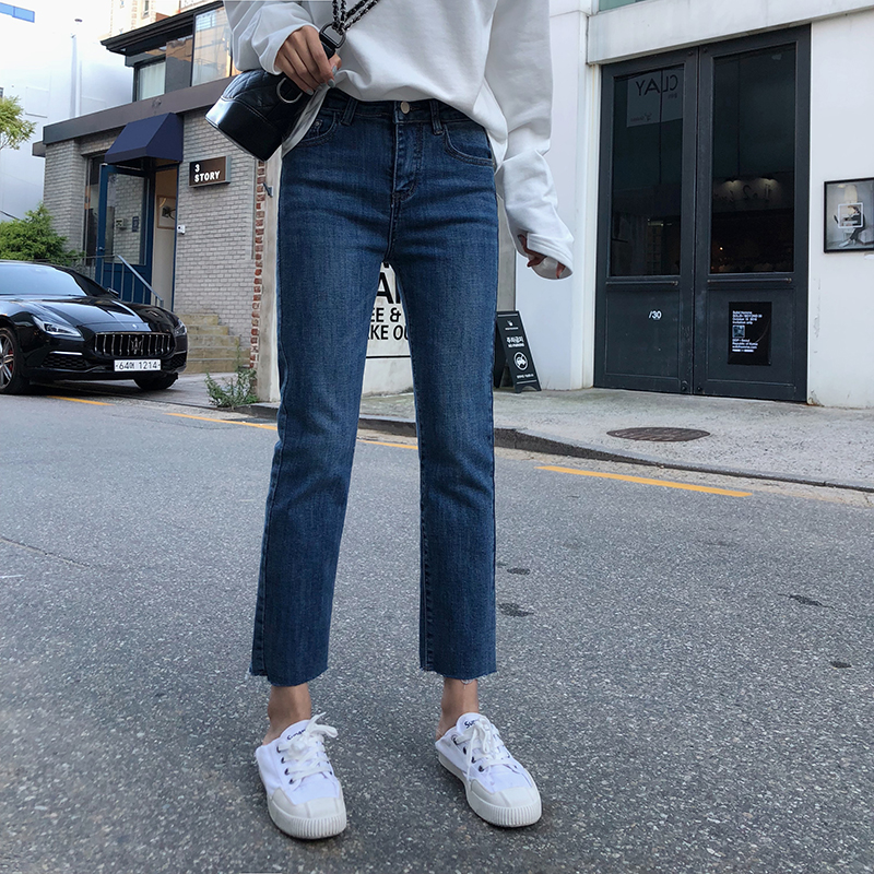 South Korean straight jeans womens high-waisted 2020 Ya small man thin plus velvet plus thick legs nine-point pipe pants