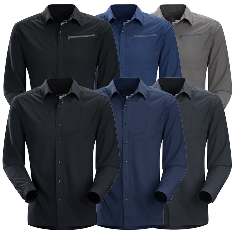 Outdoor quick drying shirt men's long sleeve quick drying four seasons sun proof clothes slim business quick drying clothes breathable quick drying shirt men
