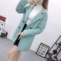 Thicken cotton suit as wool coats women long student lapel woolen cloth coats in autumn 2016 with Korean version