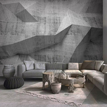 Retro Industrial Wind 3D extended space cement wallpaper living room tea shop mural geometry ins Grey wallpaper