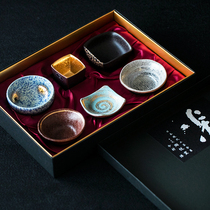 Japan imported arita ceramic kiln gold and silver color diversified taste tea small dish glass six into the gift box set