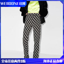 (Official website Spot) WE11DONE20AW classic full printed knitted wool trousers casual straight presbyes