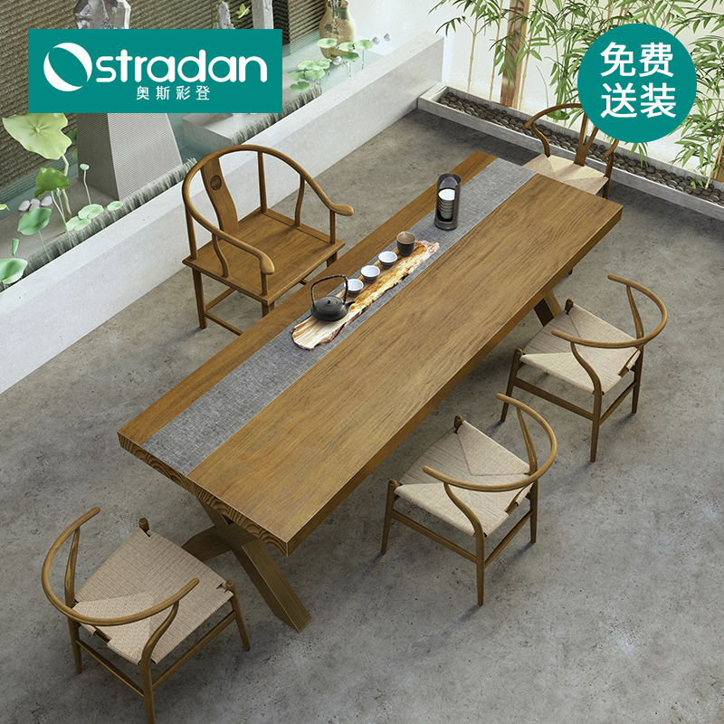 Nordic hotel clubhouse 10 people wood long table net red big table high-grade atmospheric solid wood big board tea table and chair combination