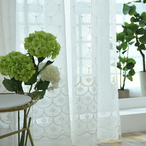Simple pure color embroidery linen window gauze material finished custom special clearance floor window balcony curtain gauze curtain