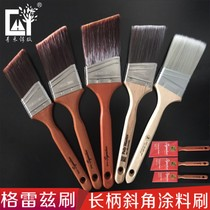Imported art coating tool long handle oblique brush oblique brush Gray brush angle Brush Green WO Router Edition