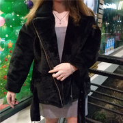 Han Guodong gate winter and new style faux fur, lapel, long sleeve zipper, suede jacket, coat, plush coat