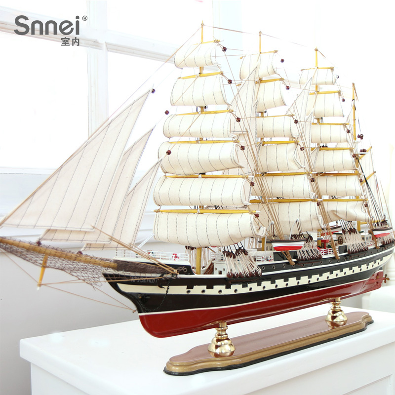 Snnei Simulated Wooden Sailing Vessel Model Arrangement Prussia 100cm Sailing Smooth Solid Wood Craft Vessel