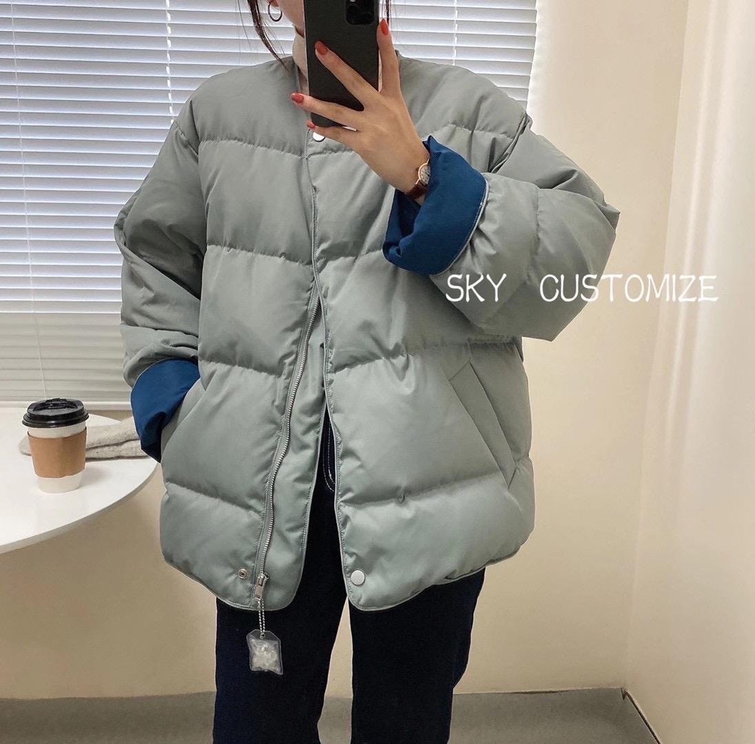 Down jacket female white duck down bread suit hit color short Korean version warm show thin collarless coat autumn and winter cotton clothing