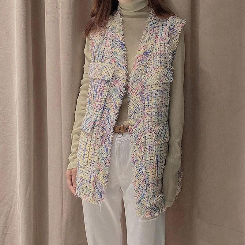 Womens Amash domestic 2021 spring new V-neck small fragrant wind womens vest coat 5400310