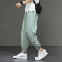 Tide brand ice silk pants mens summer thin Korean version of the trend loose large size hanging pants mens spring and autumn casual pants