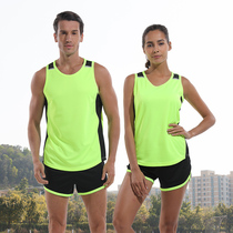Athletics suit set mens and womens sprint marathon running sports training vest shorts pupils quick-drying match suit
