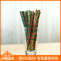 Creative Art color paper straw small fresh disposable juice milk tea beverage environmental protection paper Straw 25