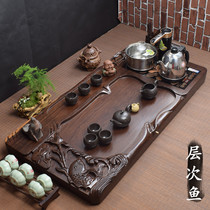 Ebony tea plate home whole solid wood wood tea table with induction cooker as one kungfu tea tray