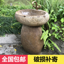 Pebble column basin Integrated outdoor stone wash basin courtyard floor wash basin Balcony Art washbasin
