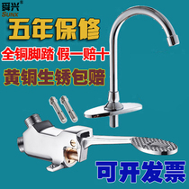 All copper Hospital with pedal faucet food factory wash basin Lab foot TAP switch valve