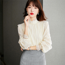French round neck long sleeve chiffon shirt womens autumn clothes 2021 new aged small shirt foreign temperament lace top