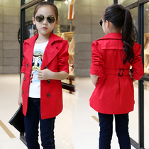 Children wear Spring 2017 new girls wear big children Korean version in pure cotton long coat children casual coat flows