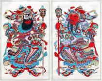Wuqiang New Year Painting hand-made woodblock overprinting boutique Big stamp hammer Door God God tea Yu Lei Town House gift collection