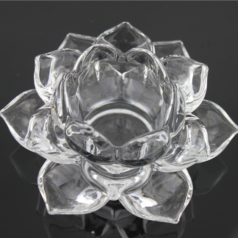 Transparent crystal glass stained lotus candle candles for Buddha lamp lotus lamp home accessories craft decoration