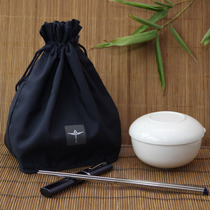 Carry-on bag does not contain chopsticks blue rope handle elegant shape can be hung with wrist Taiwan imported potty bag.