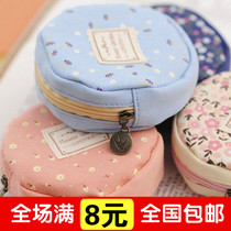 small floral round zipper wallet purse Korean women canvas arts cute mini coin bag