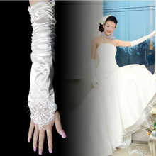 Bride Gloves Wedding Garment Accessories Elbow Extended Show Fingers Milky White Red Show Fingers Long Gloves Wrinkle