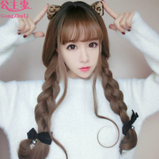 Long curly hair, big wave, natural, realistic, fluffy, round face, air, thin hair, braided hair, wig, wig, Korea