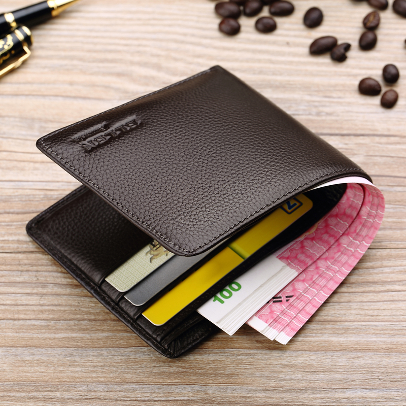 Wallet Men's Short-style Genuine Leather Ultra-thin Wallet Head Layer Cowhide Youth Zipper Student's Cross-section Genuine Soft Leather Wallet Tide