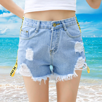Light denim shorts woman spring 2017 new hole in the Korean version of Miss high waist Ribbon edges hot pants boom in summer memories