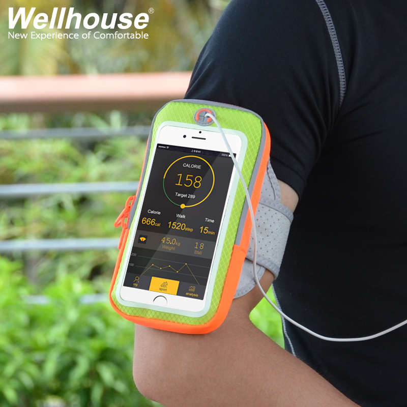 Touch screen movement arm bag phone arm touch screen outdoor running touch screen mobile phone arm bag key package headphone cable