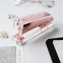 Rose Kin Yaki Stapler Stationery Office transparent metal stapler ins Nordic Wind Stapler