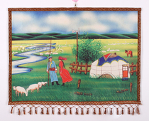 Mongolian felt painting Inner Mongolia crafts Mongolian characteristics wool color felt painting grassland emotional hanging painting hot painting