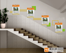 School teaching building staircase decoration hanging painting world famous University introduction campus culture decorative painting Frameless painting