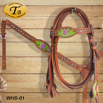 US imports colored carved Western water reins western Maronto bridle Western giant denim supplies