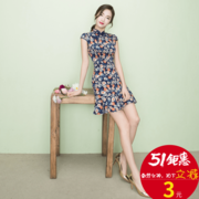 The cheongsam girl spring 2017 fashion short skirt dress summer students daily self-cultivation