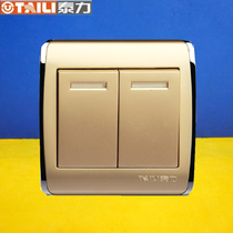 Genuine taili Thai champagne gold switch socket 86TH series Two open with two luminous double switch