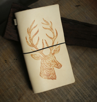 Small Tian Family hand-planted tanning cowhide printed Elk Notebook