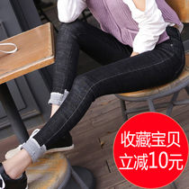 High waist black ripped jeans womens spring and summer feet 9 nine Korean version of the crimping flange elastic pants thin memory