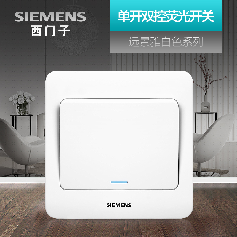 Siemens Single Open Double Control Switch Socket Panel Vision Yabai Household Electric Lamp Wall Open Fluorescent Switch
