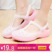2017 new female Crocs sandals summer color flat jelly shoes beach shoes slippers with female anti landslide